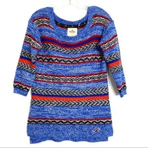 Hollister Chunky Cable Knit Wool Fair Isle Sweater